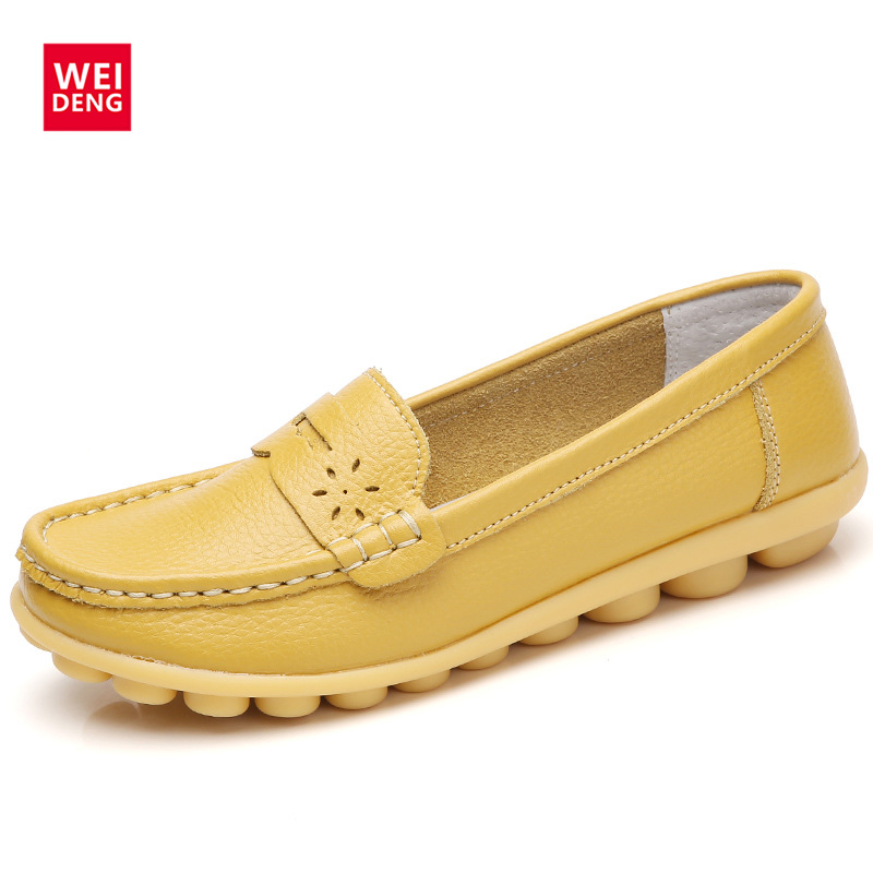 WeiDeng Women Genuine Leather Flats Gommino Moccasin Loafers Casual Slip On Cow Driving Fashion Ballet Boat Shoes pl us size 38 47 handmade genuine leather mens shoes casual men loafers fashion breathable driving shoes slip on moccasins