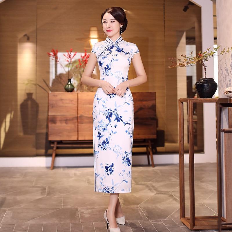 83694713 2019 moda Vestido largo Cheongsam estilo chino mandarín Collar para mujer  verano Qipao ajustado vestidos de fiesta Vestido de flores S-2XL - a.dupa.me