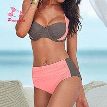 цены PACENT New High Waisted Bathing Suits Women Patchwork XXL Bikini Brazilian Women's Swimsuit Push Up Swimwear Plus Size Plavky XL