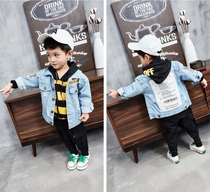 Spring new boy suit children's trend letter denim jacket + striped knit hooded sweater + casual pants three-piece baby wild