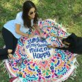 ultra Thin Mandala Tapestry Tassel Beach Round Sarong Pareo Wrap Hippie Shawl Pashmina Throw Blanket Bikini Cover up Towel Scarf