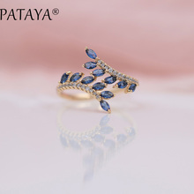 PATAYA New Arrivals Exclusive Dark Blue Horse Eye Natural Zirconia Open Rings Women Luxury 585 Rose Gold Wedding Jewelry Adjust