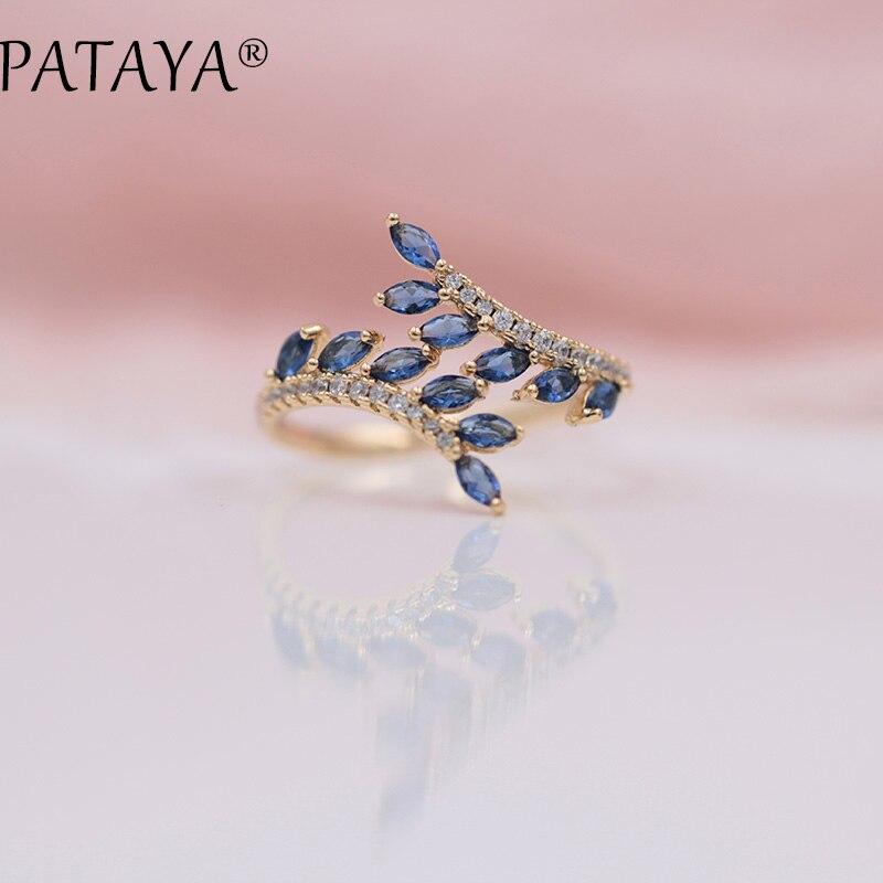 PATAYA New Arrivals Exclusive Dark Blue Horse Eye Natural Zirconia Open Rings Women Luxury 585 Rose Gold Wedding Jewelry Adjust