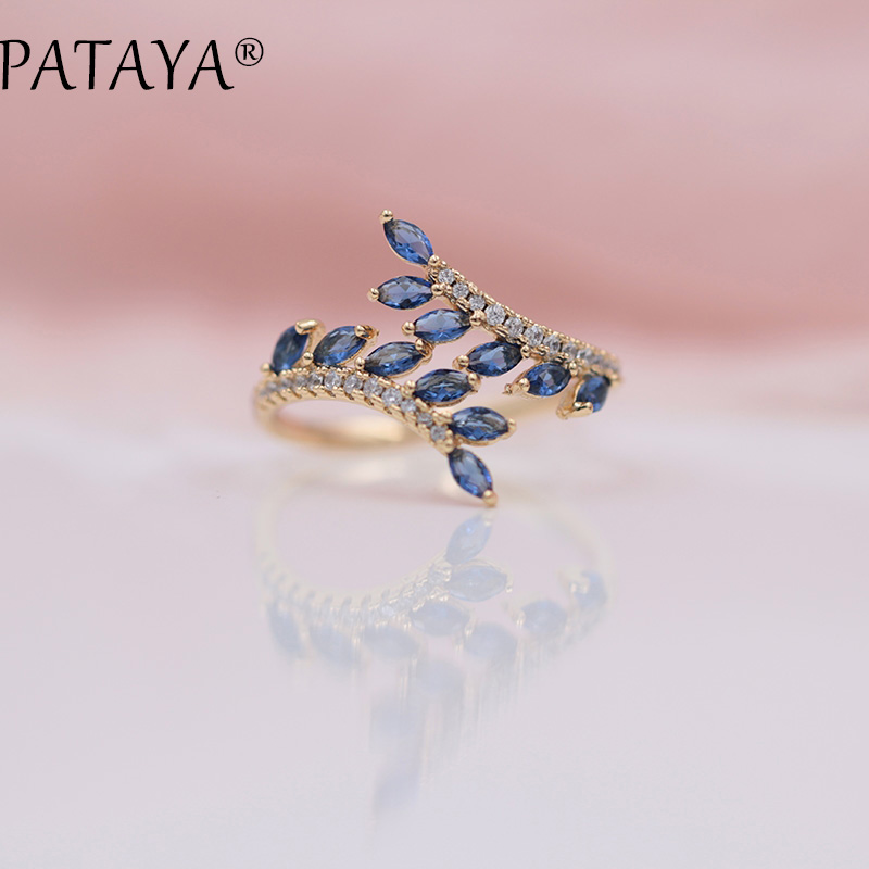 PATAYA New Arrivals Exclusive Dark Blue Horse Eye Natural Zirconia Open <font><b>Rings</b></font> Women Luxury 585 Rose Gold Wedding Jewelry Adjust