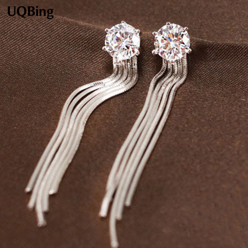 New Design Crystal Stud Earrings 925 Sterling Silver Tassel Earrings For Women Free Shipping BrincosNew Design Crystal Stud Earrings 925 Sterling Silver Tassel Earrings For Women Free Shipping Brincos