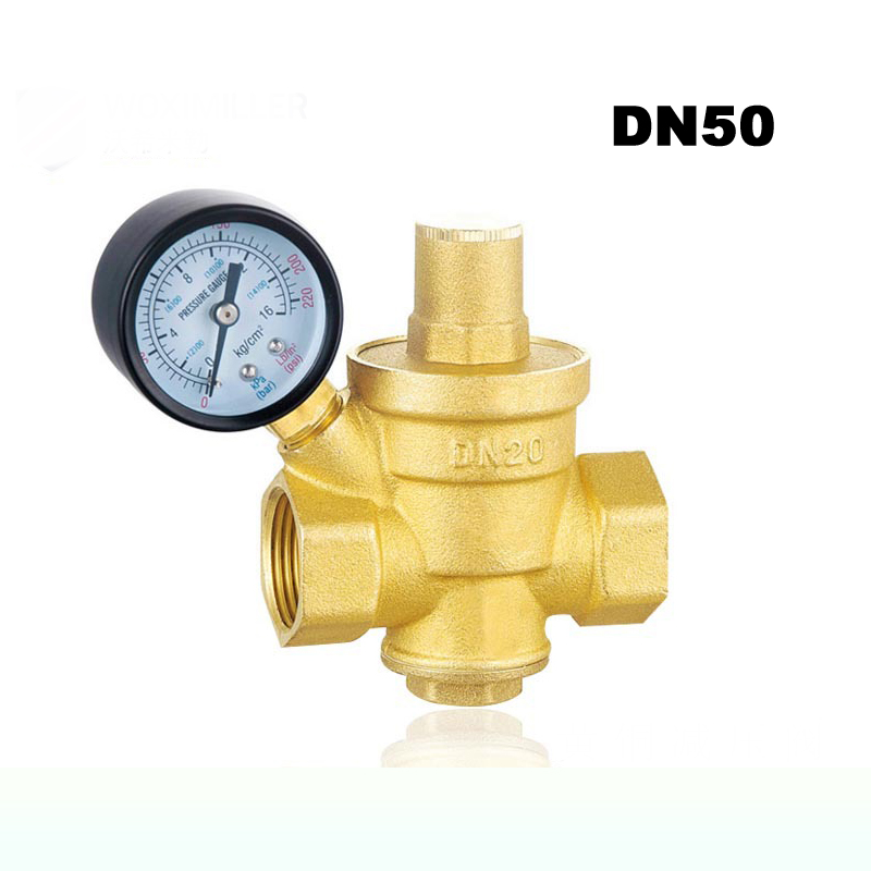 2 DN50 Brass Water Pressure Regulator Valves With Pressure Gauge Pressure Maintaining Valve Pressure Reducing Valve 1pcs oxygen regulator pressure gauge pressure reducing valve input 15mpa g5 8