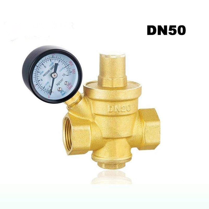 2 DN50 Brass Water Pressure Regulator Valves With Pressure Gauge Pressure Maintaining Valve Pressure Reducing Valve