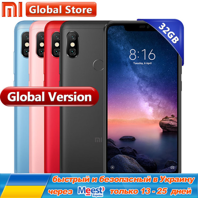 Global version Xiaomi Redmi note 6 Pro 3GB 32GB RAM ROM Snapdragon 625 Octa Core 4000mAh 6.26 inch 12MP+5MP Dual Camera