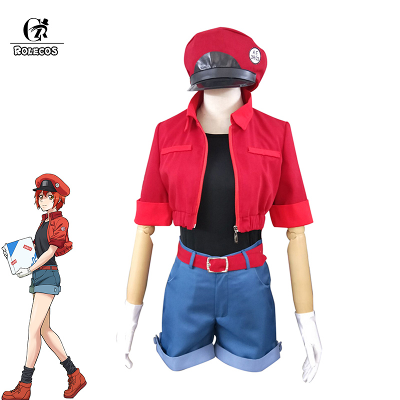 ROLECOS Hataraku Saibou Anime Cosplay Costume Erythrocytes AE3803 Cosplay Women Cells At Work Costume Full Sets Hat Socks Bag