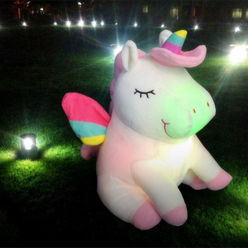 25cm Cute Plush Unicorn cartoon Doll Led Light Luminous unicorn Stuffed Colorful Plush Toys Kawaii Birthday Present For Kids цена