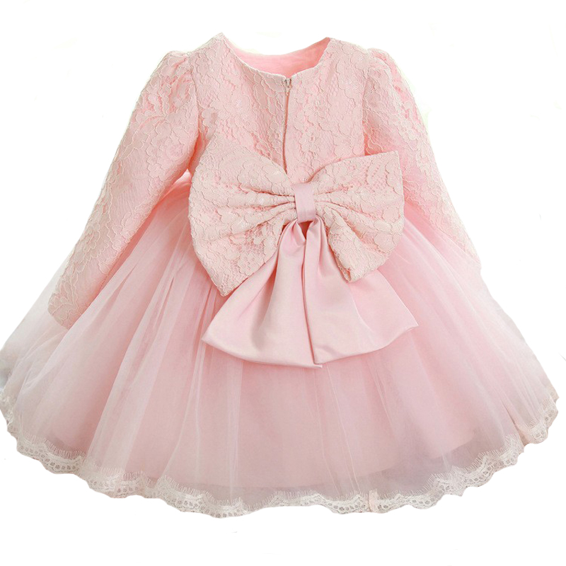 Pink Color Baby Girls Princess Dress Big Bow Toddlers Girls Lace Dress Birthday Party Infant Kids Gift Clothes Tutu Girl Vestido цена