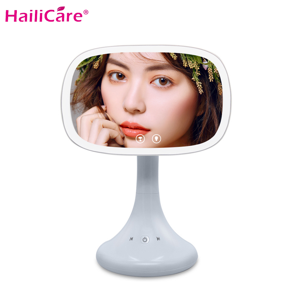 Bluetooth Speaker Makeup Mirror LED Touch Screen LEDs Lighted Make Up Mirror Cosmetic Adjustable Vanity Rotation Tabletop MirrorBluetooth Speaker Makeup Mirror LED Touch Screen LEDs Lighted Make Up Mirror Cosmetic Adjustable Vanity Rotation Tabletop Mirror