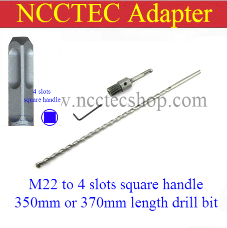 [for 350mm/370mm length diamond core drill bit] adapter 4 slots square handle to M22 for electric rotary hammer drill machine 168 350mm diamond core drill bit 152 350mm core drill bit 159 350mm wall drill bit for toilet and sewage pipe drilling 162 350mm