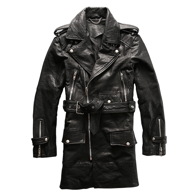 winter genuine sheep leather jacket mens sheep skin casual wind coat