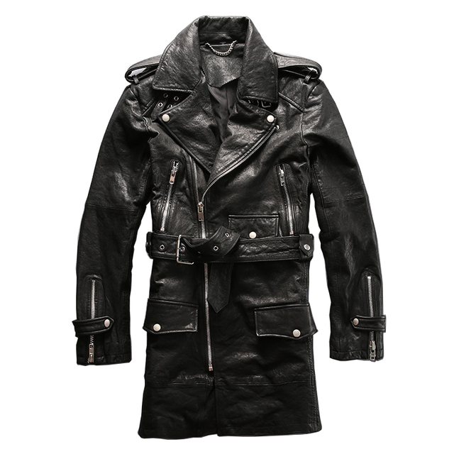 winter genuine sheep leather jacket men's sheep skin casual wind coat