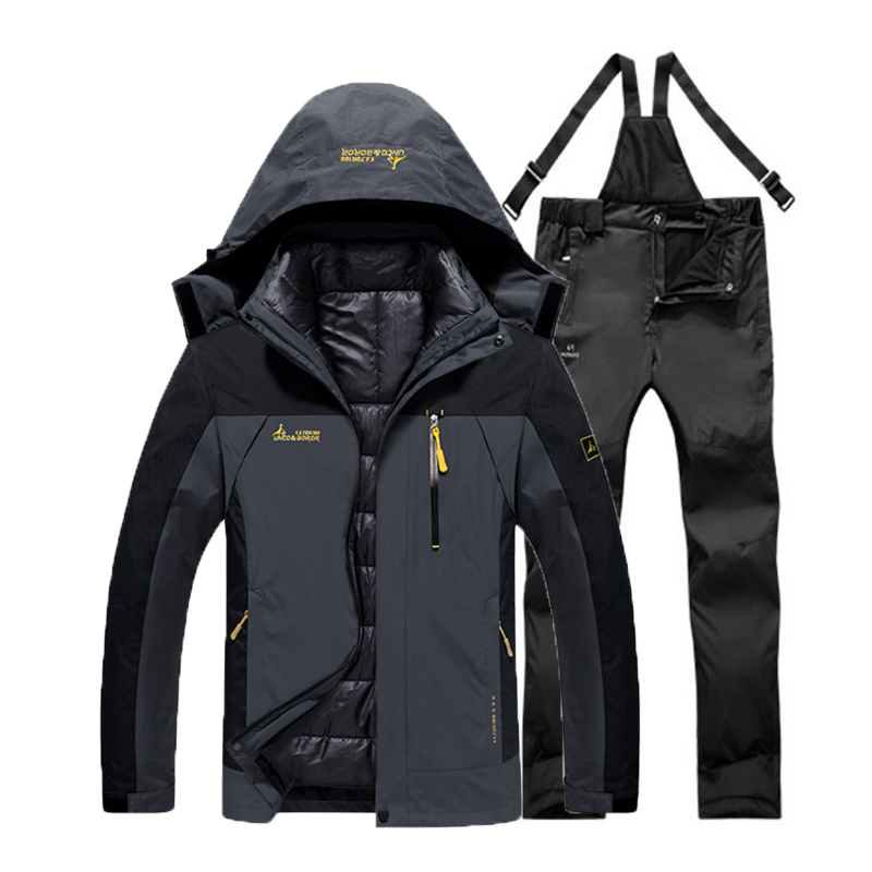 Oversized Men Winter Waterproof Fish Trekking Hiking Camp Ski Climb Warm Plus Size Cotton Outdoor Jackets Pants Suit Detachable