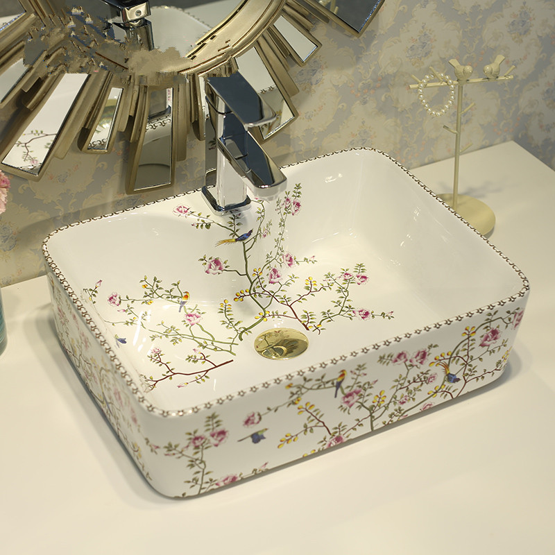Rectangular Counter Top Wash Basin Cloakroom Hand Painted