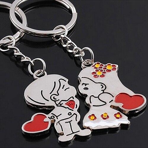 1 Pair Couple Lover Gift Key Rings Chains Fob Metal Bride Groom Heart Love Keychains Christmas Gift 6LKV car key ring