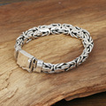 S925 wholesale silver jewelry Mens handmade silver buckle Thailand large flat grain safety Bracelet