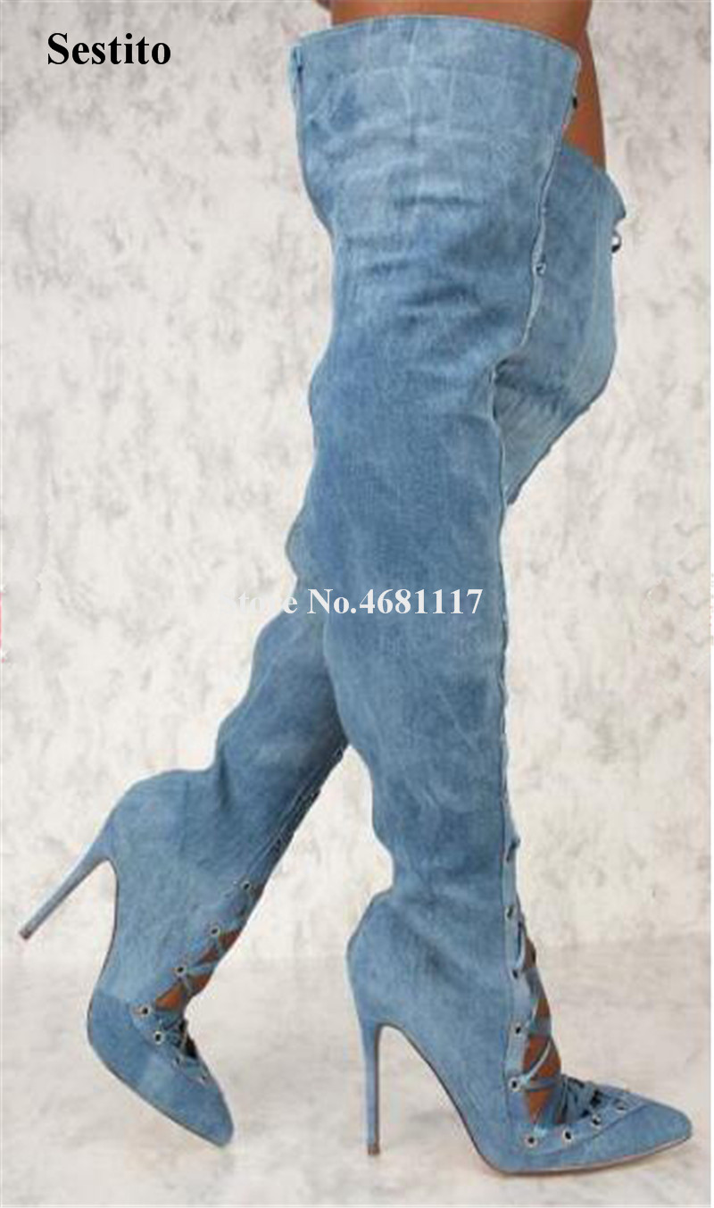 Women Fashin Sexy Pointed Toe Denim Over Knee Thin Heel Gladiator Boots Cut-out Lace-up Blue White Long High Heel BootsWomen Fashin Sexy Pointed Toe Denim Over Knee Thin Heel Gladiator Boots Cut-out Lace-up Blue White Long High Heel Boots