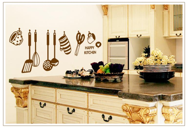 % Happy Kitchenware Design Kitchen Wall Stickers Living Room Tableware  Cooking Tools Decals Decoration Removable PVC Wallpaper In Wall Stickers  From Home ...