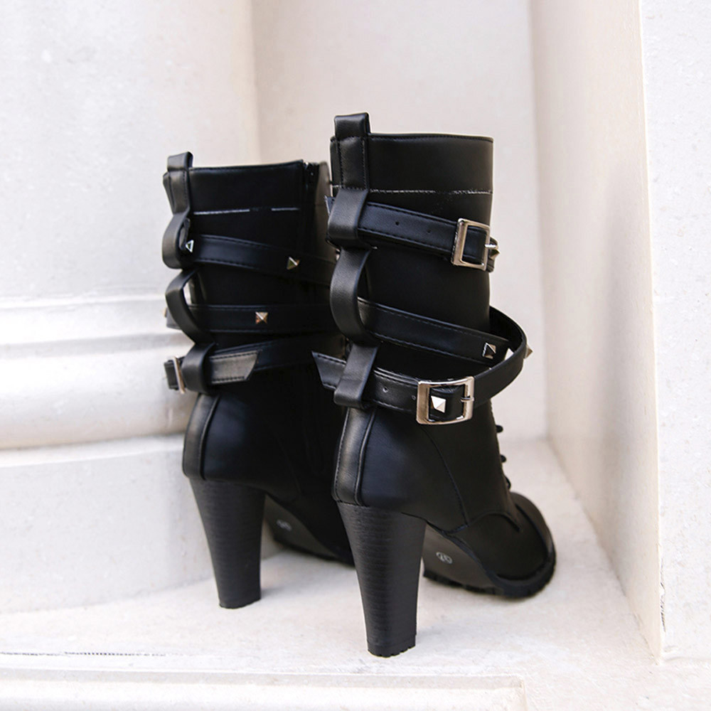 shoes Boots Women Ladies Classics Rivet Belt High Heels Mid-Calf Boots Shoes Martin Motorcycle Zip boots women 2018Oct31 19