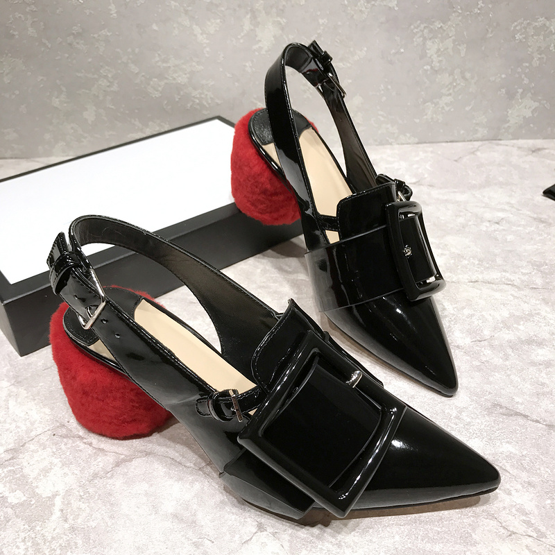 Black Patent Leather Pointed Toe Buckle Strap Pumps Slingback High Heels Wedding Party Dress Shoes Women Wholesale Drop Shippng shofoo 2017 new arrive women mature med heels pointed toe buckle strap pumps dress