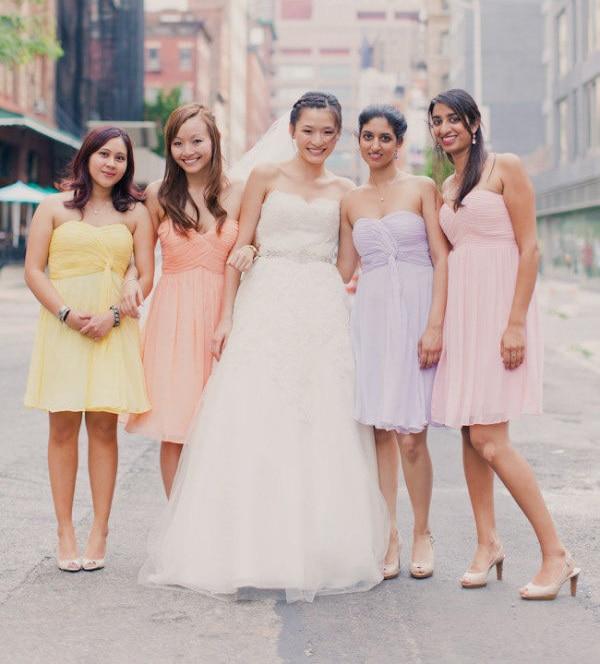 cheap pastel colors bridesmaid dresses sweetheart