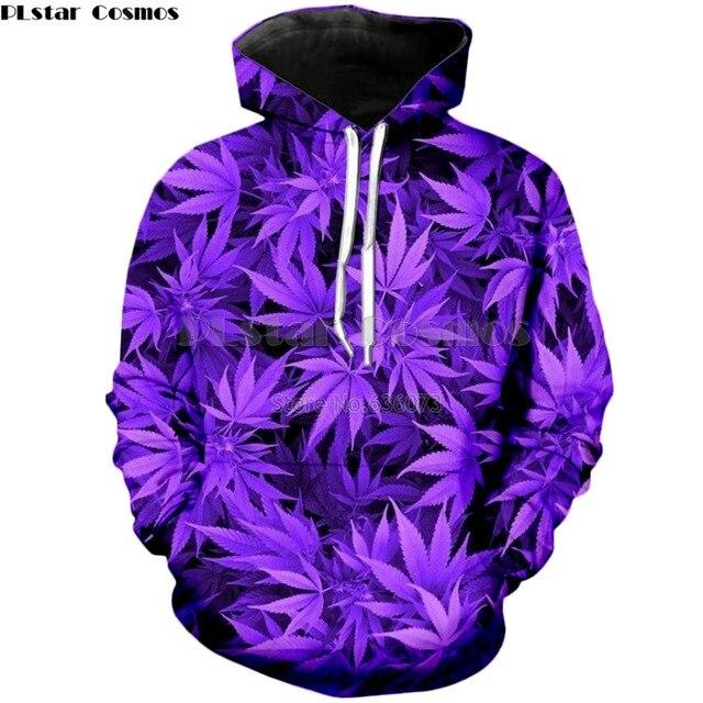PLstar Космос брендовая одежда осень 2018 г. новые модные толстовки с капюшоном Harajuku стиль Толстовка Фиолетовый сорняк печати 3d мужские женские