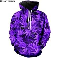 PLstar Cosmos marca ropa 2018 otoño nueva moda hoodies Harajuku estilo sudadera púrpura weed Print 3d hombres mujeres Sudadera con capucha