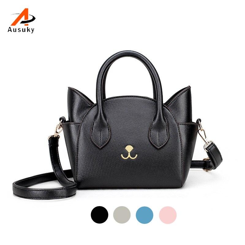 6ce7061ba Nuevos bolsos de mano de las mujeres pequeño lindo gato bolsa de mensajero  bolsos de lujo bolsos de cuero señoras negro marcas famosas diseñador bolso  15