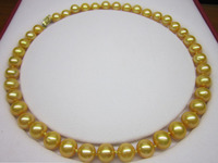 Selling jewerly >10-11mm Genuine gold south sea pearl necklace yellow mark clasp 18