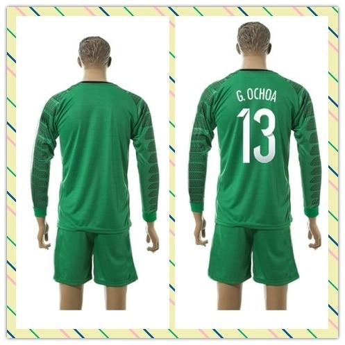 Top Sell Uniforms Mexico 2015-2016 Vela Layun Goalkeeper Green Long Sleeve  13  G.OCHOA OCHOA Soccer Jersey Full Shirt. Price  d235bce93