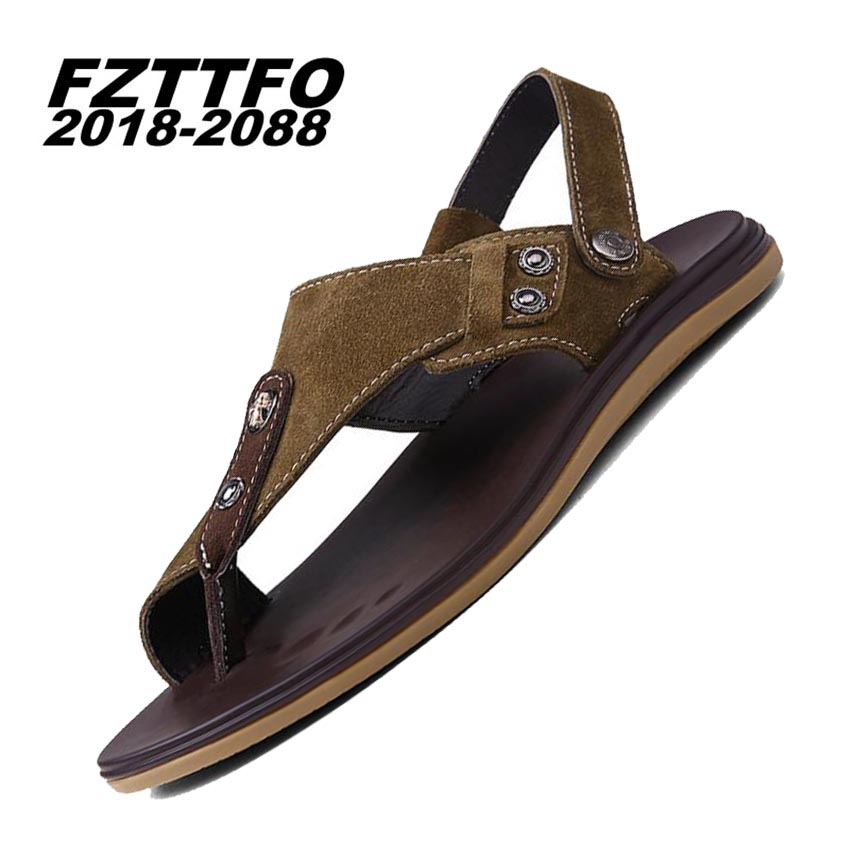 36 46 Men s 100 Genuine Leather New Famous Brand Casual Men sandals Slippers Summer Shoes