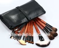 ISMINE 18 cái Màu Nâu Đỏ Makeup brush set vàng bạc gỗ Xử Lý Đen Pouch Superior animal tóc 18 cái trang điểm Bàn Chải b