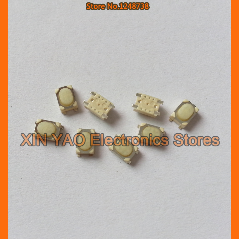 (10-100 pieces/lot) 3*4*2.5mm White mini remote control buttons switch Car keys button Micro button 3x4x2.5 SMD 4-Pin