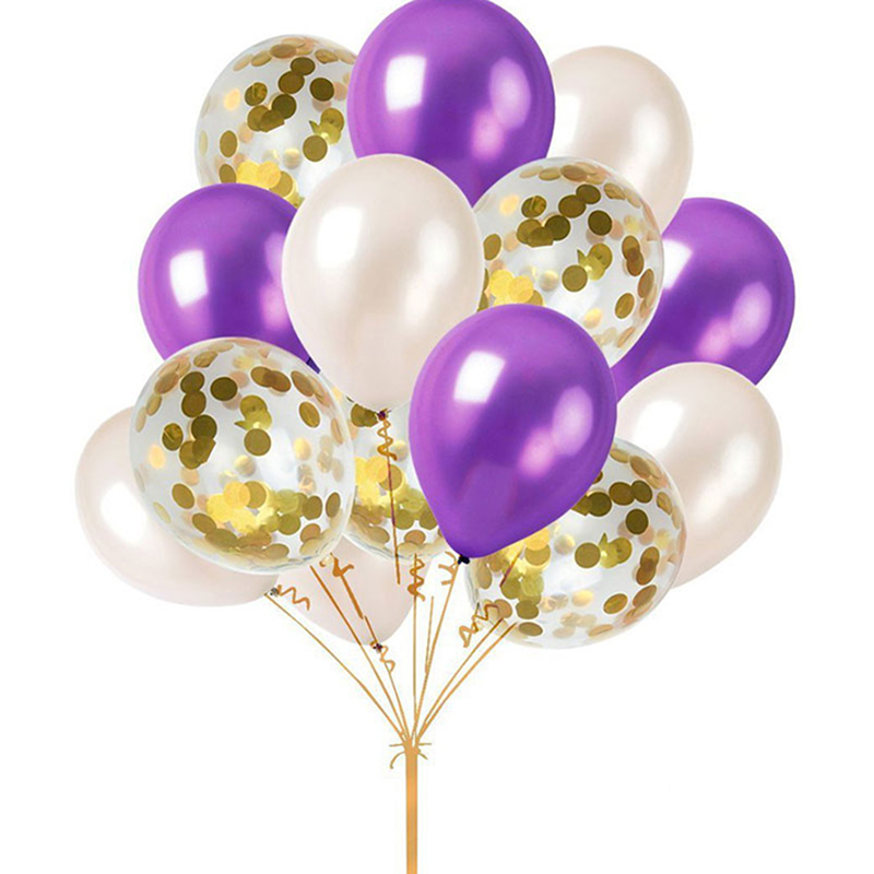 12inch Gold Confettis Ballons Clair Latex Ballon Happy Birthday Decoration Multicolor Ba ...