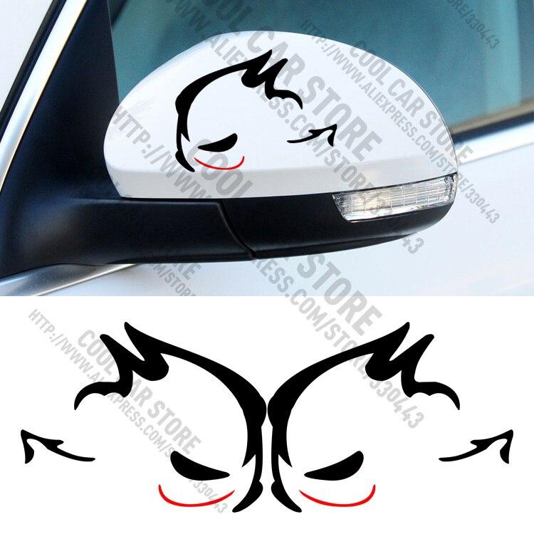 1 Pair Evil Rabbit GTI MTM Rearview Mirror Car Sticker Car Styling for volkswagen VW Beetle polo golf CC Touareg Tiguan Passat