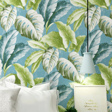 Custom PVC Nordic banana leaf wallpaper bedroom living room Mediterranean style Southeast Asian Thai TV background wall paper custom mural wallpaper southeast asian tropical green banana leaf wallpaper bedroom living room background wall decor wallpaper