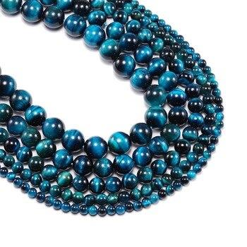 3f20924c0e77 1 strand lot 4 6 8 10 12mm AAA Piedra Natural Ojo de Tigre azul Agat ronda  suelta perlas cuentas espaciadoras para hacer joyas accesorios DIY
