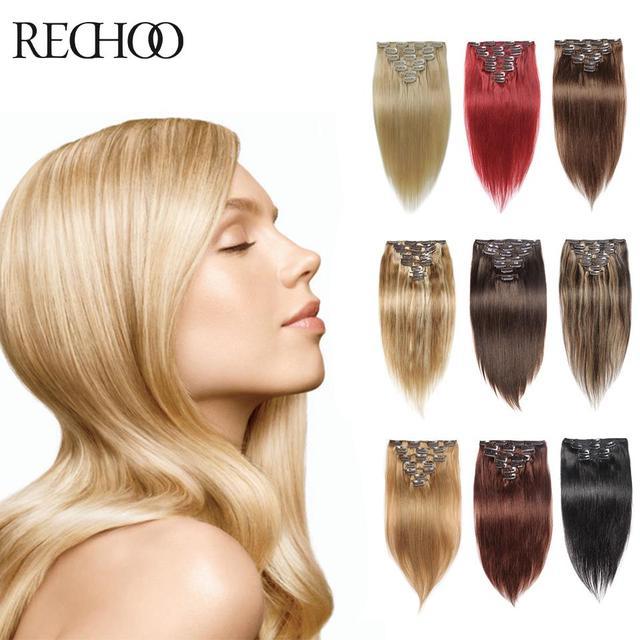 70 Gramos 160 Gramos Clip En Extensiones de Cabello Humano 7 y 10 Unids Clip En Extensiones de cabello 16 26 Pulgadas Recta Del Pelo Humano Clip Ins 7 colores