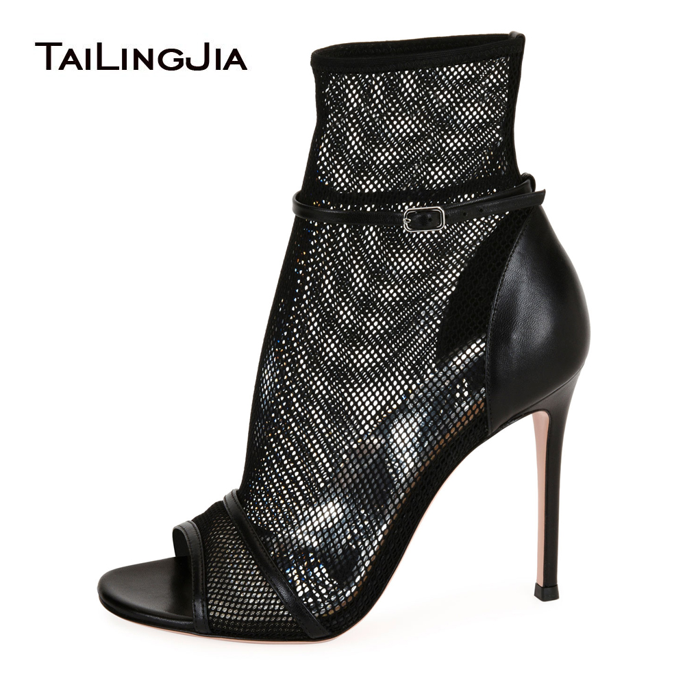 купить Black Peep Toe High Heel Mesh Ankle Boots Sexy Fishnet Summer Booties Nude Ankle Strap Ladies Dress Shoes Women Party Heels 2018 по цене 3940.46 рублей