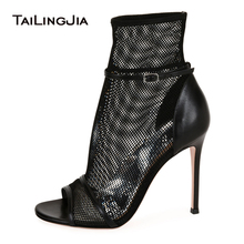 Black Peep Toe High Heel Mesh Ankle Boots Sexy Fishnet Summer Booties Nude Ankle Strap Ladies Dress Shoes Women Party Heels 2018 недорого