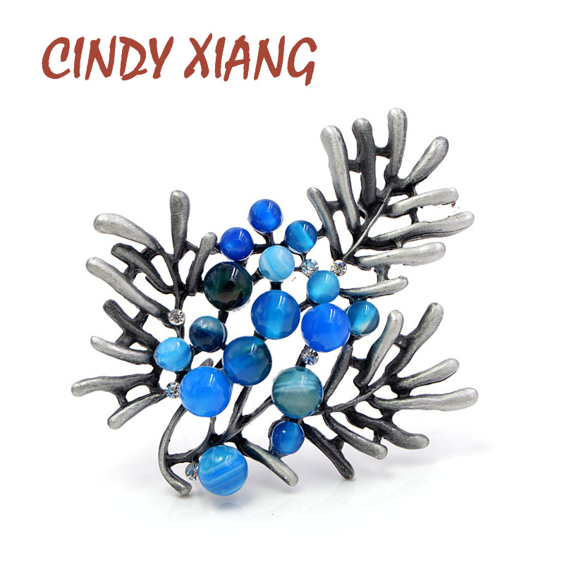 CINDY XIANG Antique Silver Color Plated Resin Beads Brooches for Women Fashion Elegant Coat Accessories Coat Jewelry Hot Sale