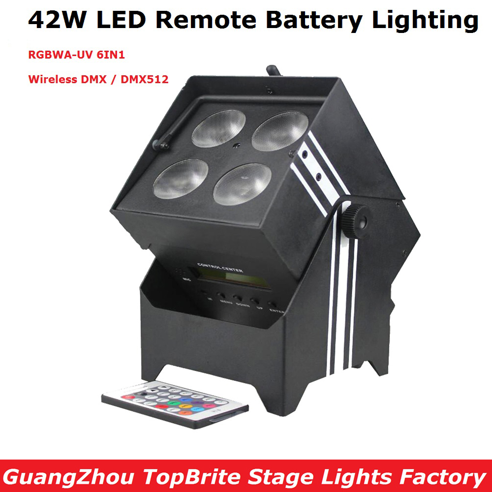 Wireless Battery Powered Portable Uplights 42W 6IN1 Led Par Light RGBWA+UV Slim Par Can With IRC For Party Wedding Decorations freeshipping irc 9x18w rgbwa uv 6in1 battery wireless led par light 165w full color display screen infrared wireless controller