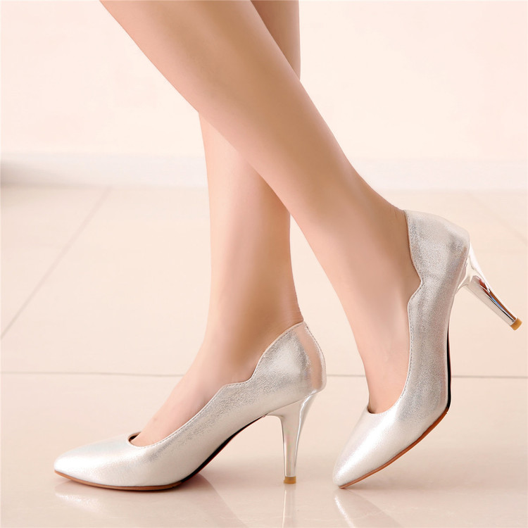 ФОТО Silver high-heeled shoes female gold rose black women's shoes size 31 - 43 pointed toe sexy single shoes shallow mouth