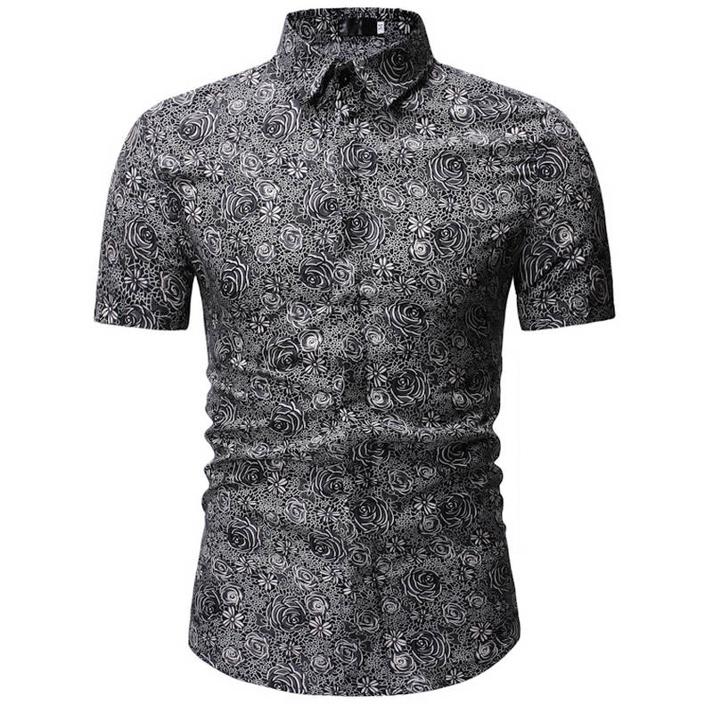 2019 Men Shirt Summer Style Palm Tree Print Beach Hawaiian Shirt Men Casual Short Sleeve Hawaii Shirt Chemise Homme 3XL 23 Color