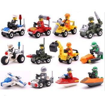 12 видов оригинальной миниблок транспорт вагоностроительный Конструкторы Совместимость legoeinglys друг soliders полиции кирпичи