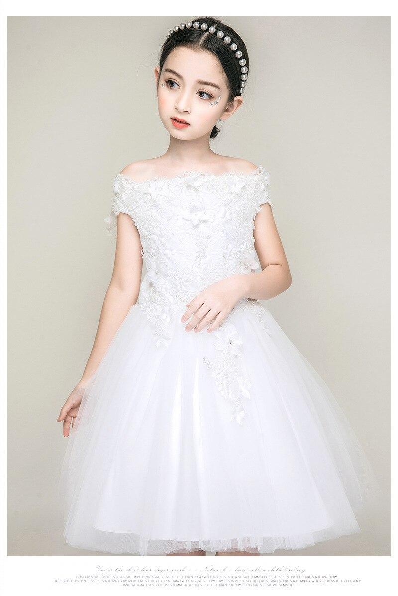 White Kids Wedding Dress Flowe Girls Pink Shoulderless 20 Girls Vestido  Infantil Kid Clothes 20 20 20 20 20 20 Year Old RKF1840201