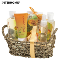 2016 New Mango Pear Spa Gift Set Woven Antique Basket In Shower Gel Bubble Bath Bath